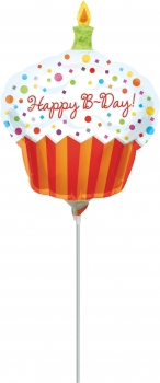 "Mini-Folienballon ""Happy Birthday"", Cupcake"