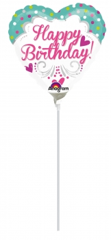 "Mini-Folienballon ""Happy Birthday"", Herz"