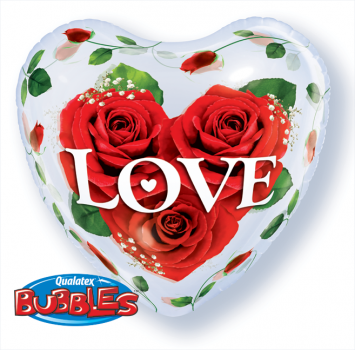 "Bubble-Ballon ""Love Rosen"" (heliumgefüllt)"