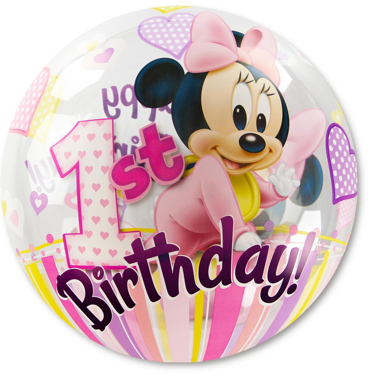 gabis ballonerie bubble ballon mickey mouse 1 geburtstag m dchen heliumgef llt. Black Bedroom Furniture Sets. Home Design Ideas