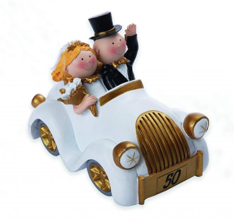 Gabis Ballonerie Figur Brautpaar Im Auto Groß Gold