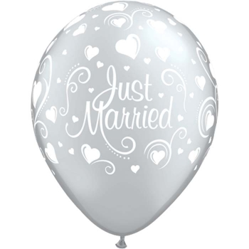 "Latexballons - 6 Stck. ""Just Married, silber"""