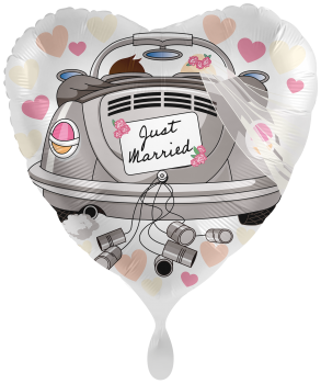 "Folienballon ""Just Married"" - Weddingcar Herz"