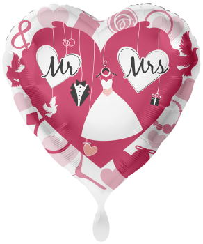 "Folienballon ""Mr. & Mrs."" Herz"